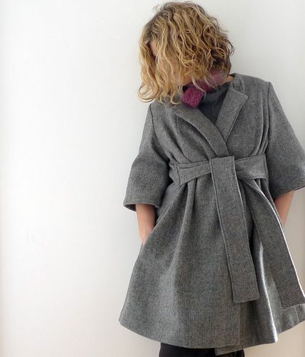 Grey_blue check wool wrap coat