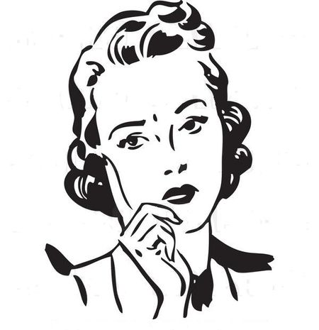 Royalty-free-black-and-white-retro-vector-clip-art-of-a-sad-woman-leaning-on-her-hand-while-thinking-by-bestvector-2127